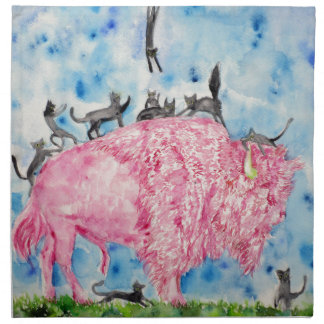 pink bison and black cats napkin