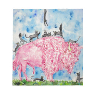 pink bison and black cats notepad