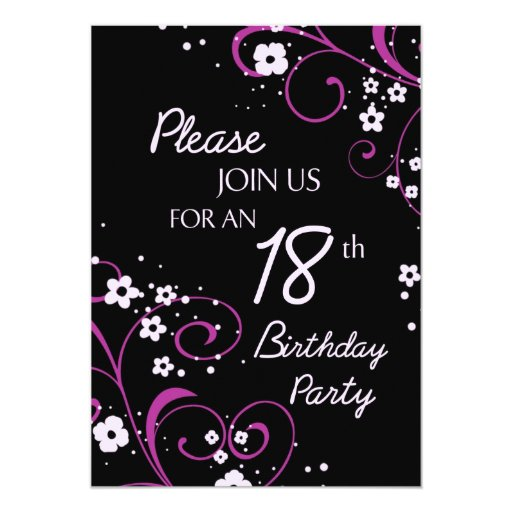 Pink Black 18th Birthday Party Invitation Card 13 Cm X 18 Cm Invitation Card