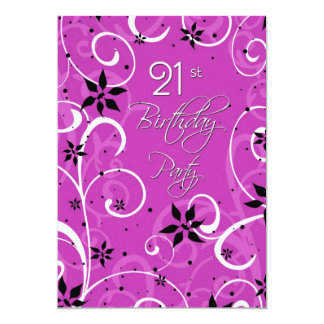 Pink Black 21st Birthday Party Invitation Card