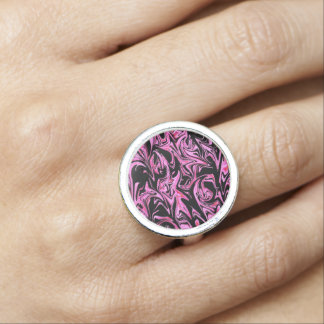 Pink Black Abstract Pattern, Round Silver Ring.