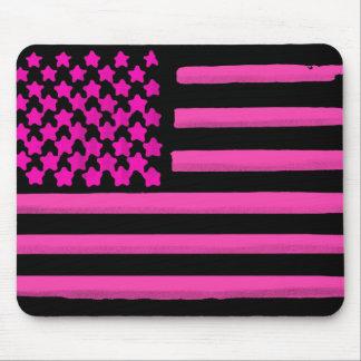 Pink black American flag grunge mousepad