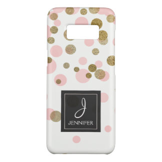 Pink, Black and Gold Foil Confetti Monogram Case-Mate Samsung Galaxy S8 Case