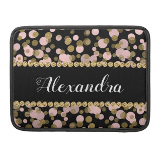 Pink, Black and Gold Foil Confetti Monogram Sleeve For MacBooks