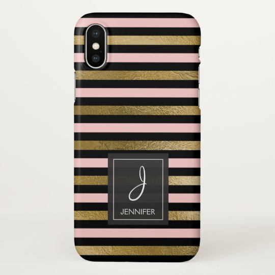 Pink, Black and Gold Foil Striped Monogram iPhone X Case
