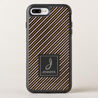 Pink, Black and Gold Foil Striped Monogram OtterBox Symmetry iPhone 8 Plus/7 Plus Case