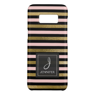 Pink, Black and Gold Foil Striped Pattern Monogram Case-Mate Samsung Galaxy S8 Case