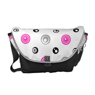 Pink, Black, and Gray Circles Messenger Bag