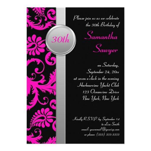 Pink, Black, and Silver 30th Birthday Invitation
