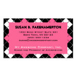 Pink Black and White Argyle Print Double-Sided Standard Business Cards (Pack Of 100)