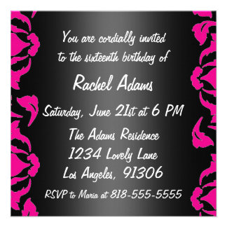 Pink Black and White Birthday Party Invitation