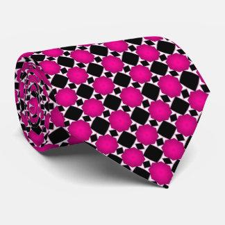 Pink Black and White Diamond Geometric Pattern Tie