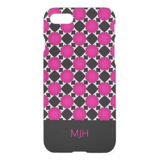 Pink Black and White Diamond Pattern Monogram iPhone 8/7 Case