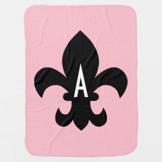Pink Black and White Fleur de Lis Monogram Receiving Blankets