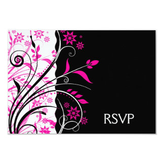 Pink Black and White Floral Wedding RSVP Notes Card