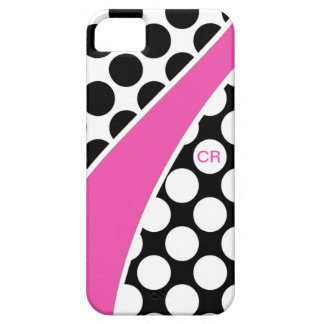 Pink Black and White Polka Dot Wave Monogram iPhone 5 Case