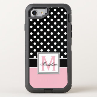 Pink, Black and White Polka Dots Monogrammed OtterBox Defender iPhone 8/7 Case