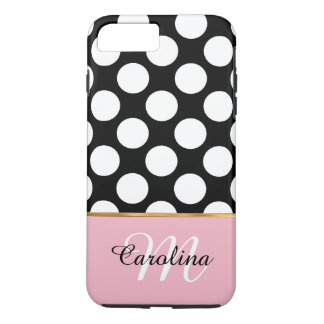 Pink, Black and White Polka Dots,  Name & Monogram iPhone 8 Plus/7 Plus Case