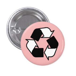 Pink Black and White recycle logo button