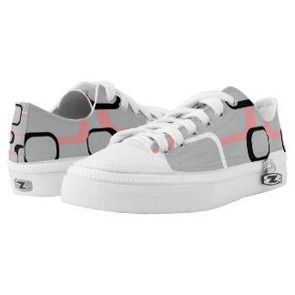 Pink Black and White Retro Squares Gray Printed Shoes