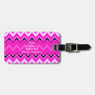 Pink, Black and White Zigzag Luggage Tag