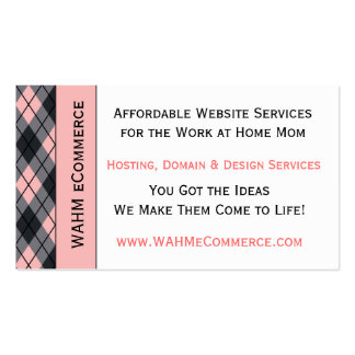 Pink & Black Argyle Double-Sided Standard Business Cards (Pack Of 100)