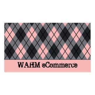 Pink & Black Argyle Pack Of Standard Business Cards