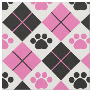 Pink & Black Argyle Paw Print Pattern Fabric