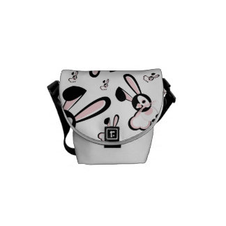 Pink & Black Art Bunny Design Messenger Bag