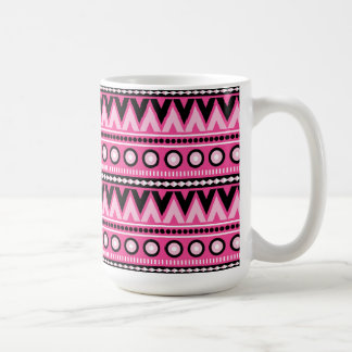 Pink Black Aztec Modern Stylish Trendy Coffee Mug