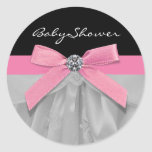 Pink Black Baby Girl Shower Stickers