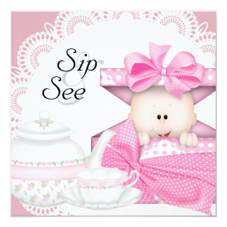 Pink Black Baby Girl Sip and See Invitations