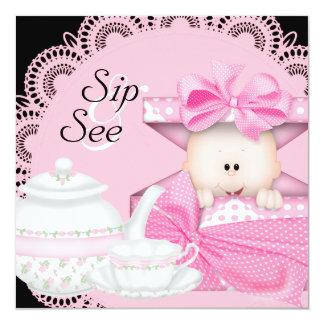 Pink Black Baby Girl Sip & See Invitations