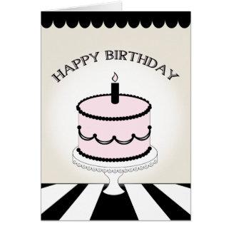 Pink & Black Birthday Cake / Stripes Card