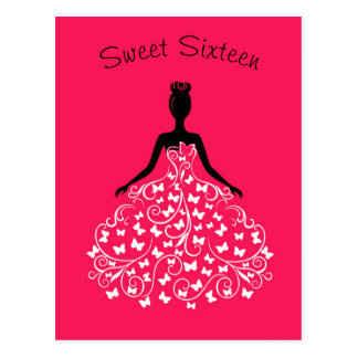 Pink Black Butterfly Gown Sweet Sixteen Invitation Postcard