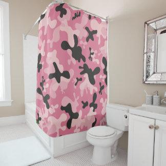 Pink Black Camouflage Camo Design Shower Curtain
