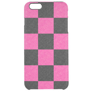 Pink Black Checkerboard Clear iPhone 6 Plus Case