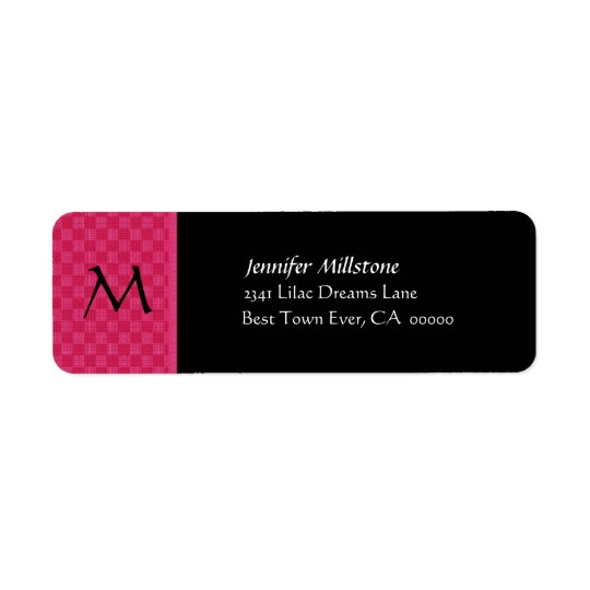 PINK & BLACK CHECKERBOARD Wedding Address Label