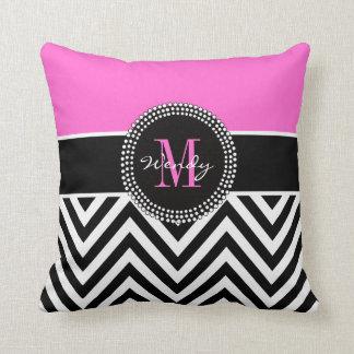 Pink Black Chevron Monogram Elegant Throw Pillow