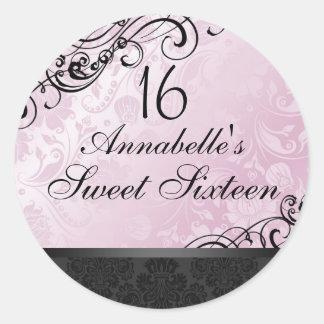 Pink & Black Chic Floral Damask Sweet16 Sticker