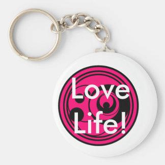 Pink & black circles on white, text love Life! Basic Round Button Key Ring