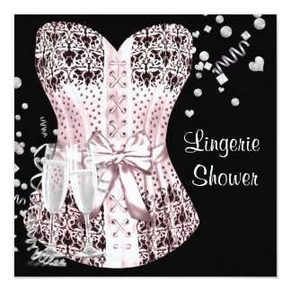 Pink Black Corset Lingerie Bridal Shower 13 Cm X 13 Cm Square Invitation Card