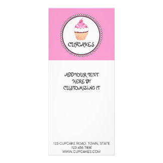 PINK BLACK CUPCAKE BAKERY FLYER RACK CARD