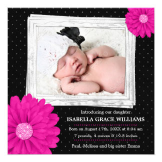 Pink Black Daisy Girl Photo Birth Announcement