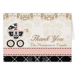 Pink Black Damask Baby Carriage Shower Thank You Note Card