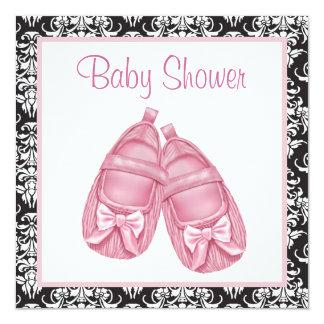 Pink Black Damask Baby Girl Shower 13 Cm X 13 Cm Square Invitation Card