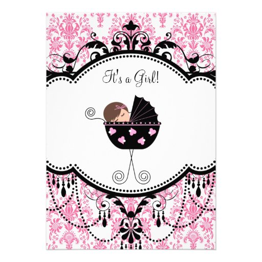 Pink Black Damask Baby Girl Shower Invitations