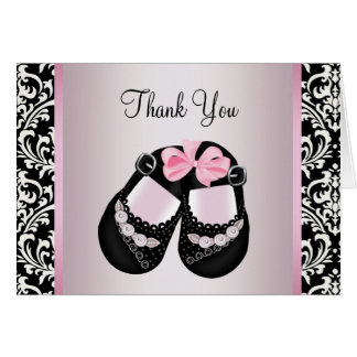 Pink Black Damask Baby Girl Shower Thank You Card