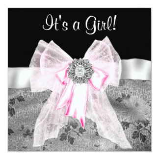 Pink Black Damask Baby Shower Invitations