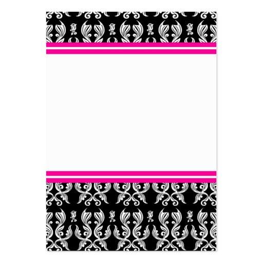 Pink Black Damask Business Card
